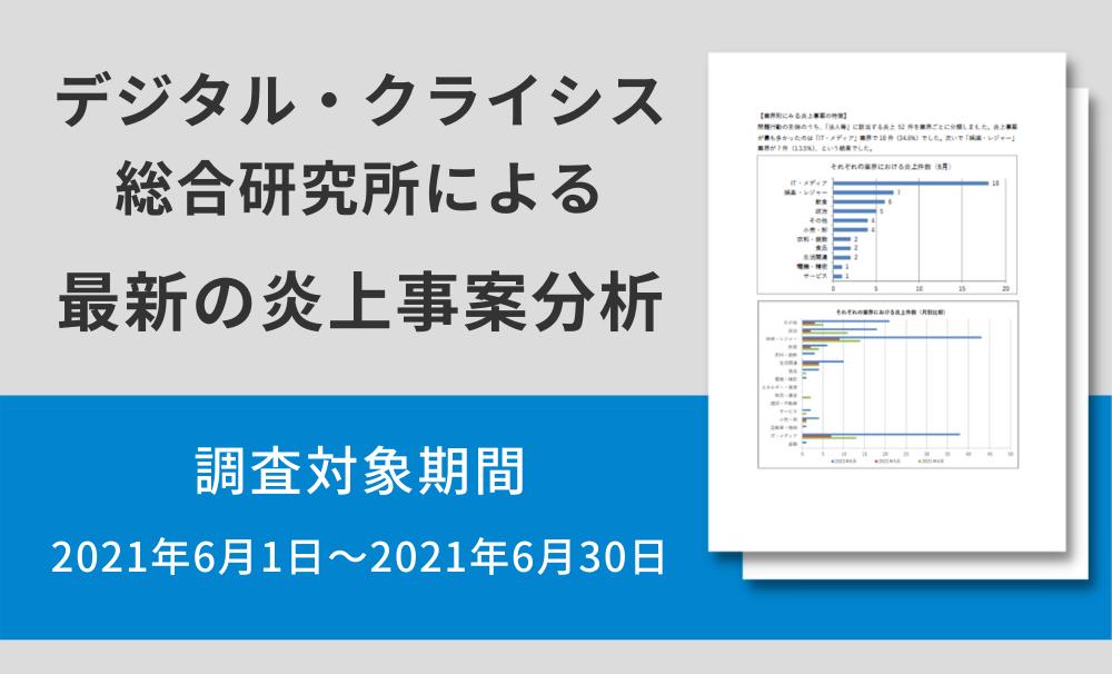デジタル・クライシス総合研究所による最新の炎上事案分析(調査対象期間:2021年6月1日~2021年6月30日)